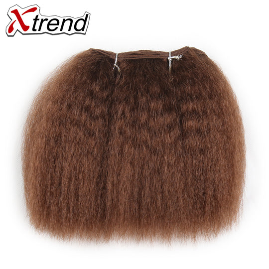 Xtrend Kinky Straight Hair Bundles For Black Women 8inch 14inch Short Synthetic Weave Kanekalon-WeaveKINGDOM.com