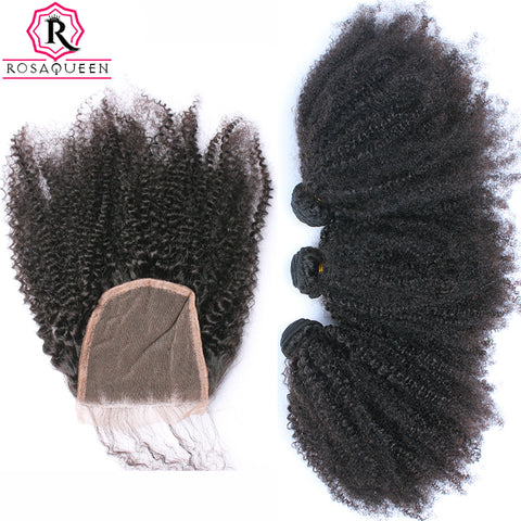 Buy 3 Bundles Get 1 Free Closure Mongolian Afro Kinky Curly Hair Weave Human Hair Bundles With-WeaveKINGDOM.com