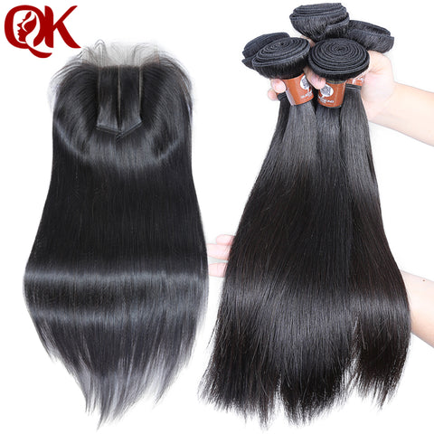 QueenKing Hair 3 Bundles Weft hair With lace closure 5X5 3 way part Silky Straight Brazilian Remy-WeaveKINGDOM.com