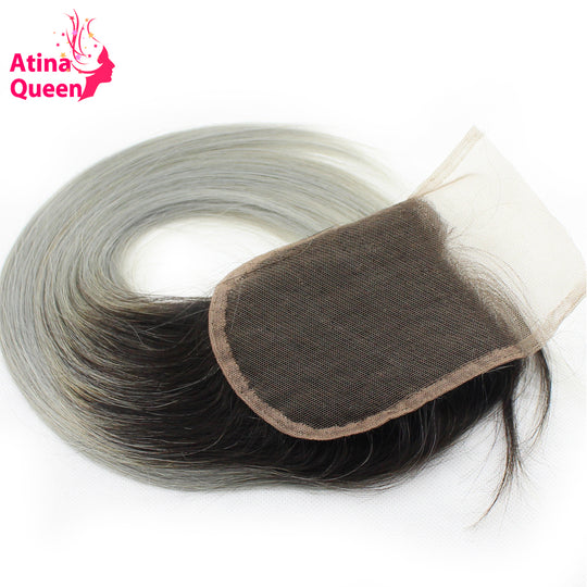 Atina Queen 1B Grey Straight 4*4 Lace Closure With Baby Hair Dark Roots Gray Color non Remy-WeaveKINGDOM.com