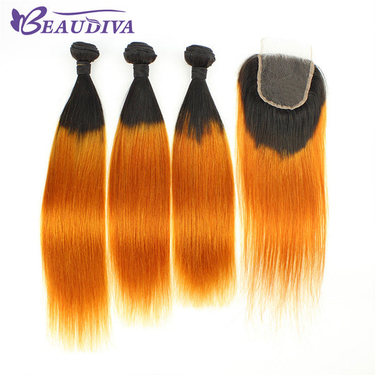 BEAUDIVA Pre-Colored Brazilian Straight Hair 3 Bundles With Closure Cheap Human Hair Bundles With-WeaveKINGDOM.com
