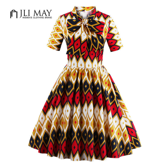 JLI MAY women Print Vintage party dress plus size elegant evening 50s Bow midi Fit Flare Stand-WeaveKINGDOM.com