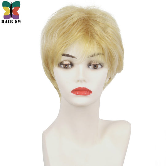Hair Extensions & Wigs Hair Sw Short Straight High Temperature Fiber Synthetic Wig With Bangs Bob Womens Classical Blonde Wigs For Ladies Synthetic Wigs