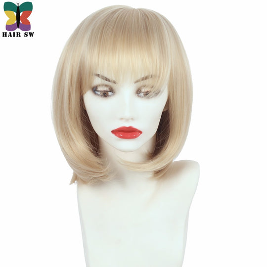 Short Straight High Temperature Fiber Synthetic Wig With Bangs Bob Women's Classical Blonde Wigs For-WeaveKINGDOM.com