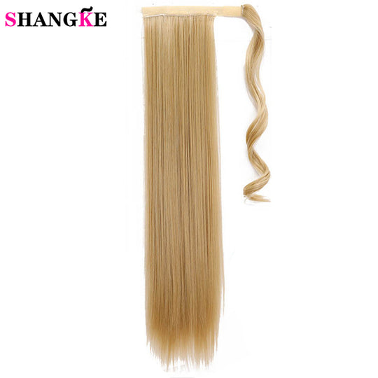 SHANGKE 24''Long Straight Ponytail Clip In Pony Tail Synthetic Hair Extension Extensions Wrap on-WeaveKINGDOM.com