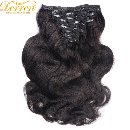 200G 10Pcs Full Head Clip In Human Hair Extensions Brazilian Machine Made Remy Hair 100% Human-WeaveKINGDOM.com