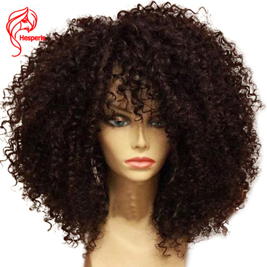 Hesperis Afro Kinky Curly Pre Plucked Lace Front Human Hair Wigs With Baby Hair For Black Women-WeaveKINGDOM.com