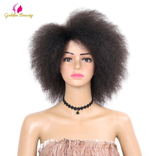 Golden Beauty Kinky Curly short Afro Wigs 6inch nature black Synthetic Wig For Women 90g-WeaveKINGDOM.com