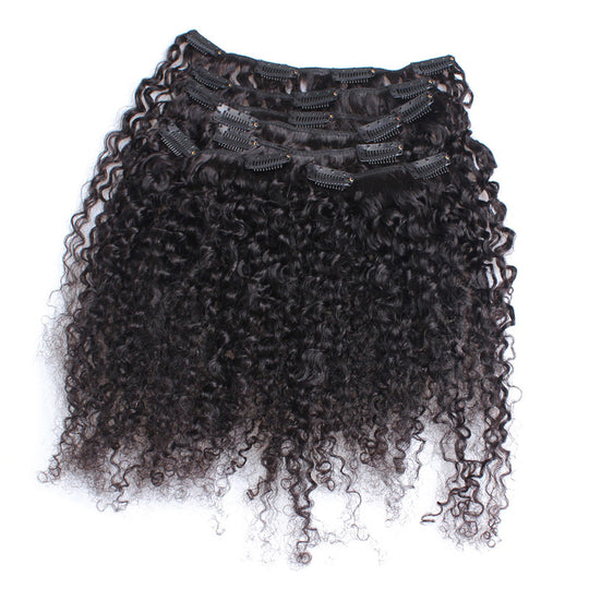 3B 3C Kinky Curly Clip In Human Hair Extensions Nautral Color Clip-in Full Head 7 Pcs Brazilian Remy-WeaveKINGDOM.com