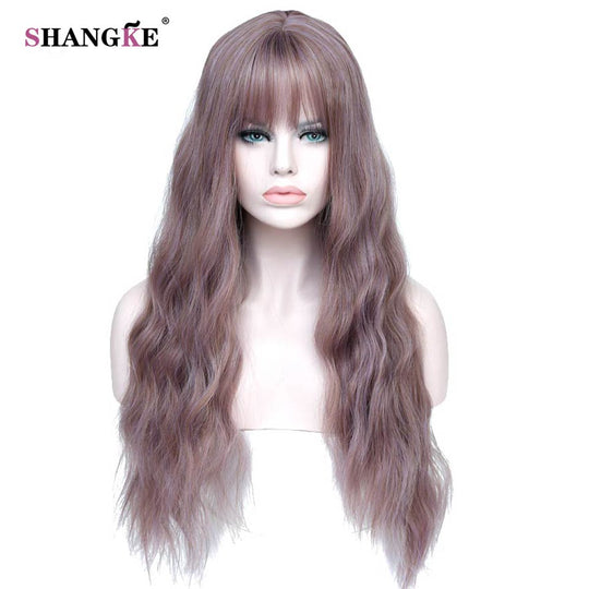 "SHANGKE 26"" Long Mix Purple Womens Wigs with Bangs Heat Resistant Synthetic Kinky Curly Wigs for-WeaveKINGDOM.com"