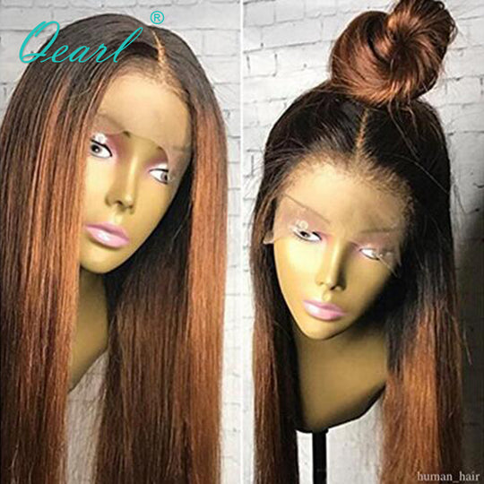 1B Root Ombre Human Hair lace Front Wigs With Baby Hair Silky Straight Remy Hair 130 Density Pre-WeaveKINGDOM.com