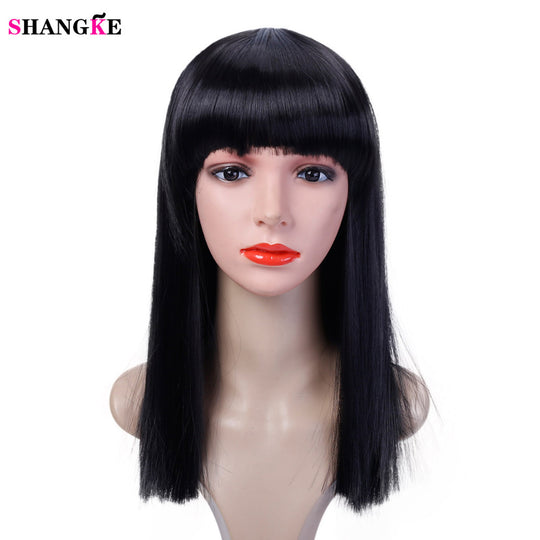 40CM Hair Long Straight Wig Womans Heat Resistant Synthetic Female Cosplay Wigs For White Women-WeaveKINGDOM.com