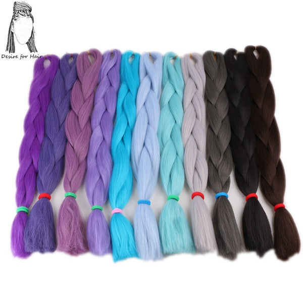 Desire for hair 1pack 24inch 80g 90 pure colors high tempreture synthetic fiber jumbo braiding hair for small twist braids