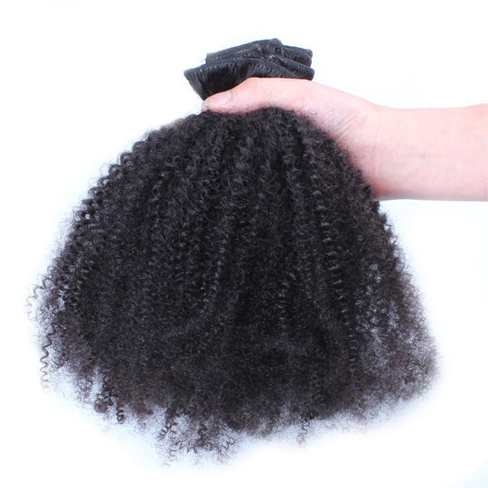 Clip In Human Hair Extensions 4B 4C Afro Kinky Curly Clip Ins Mongolian Remy Hair Full Head 7 Pcs-WeaveKINGDOM.com