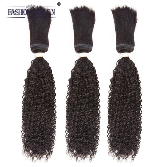 Fashion Queen Brazilian Kinky Curly 3 Bundles Braid In Bundles 12-28 Inch No Sew No Crochet No Glue Non-Remy Human Hair Weave