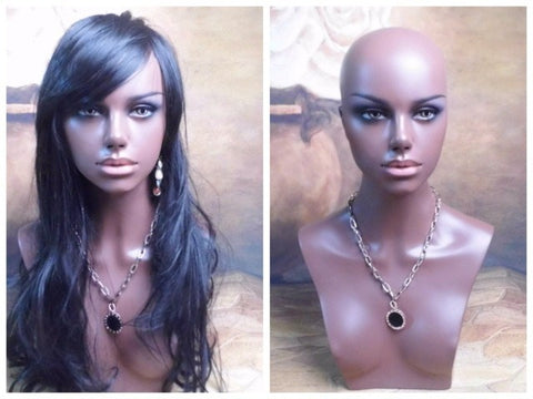 Realistic Black Female Fiberglass Mannequin Head Bust For Wig And Hat Display-WeaveKINGDOM.com