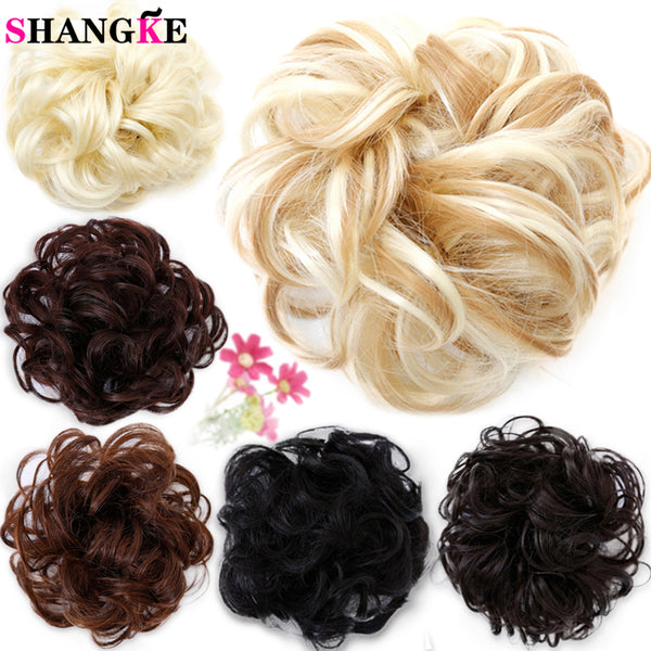 SHANGKE Curly Synthetic Hair pieces Women Chignon with Rubber Band Hair Extension Updo Donut Hairpieces Heat Resistant - WeaveKINGDOM.COM