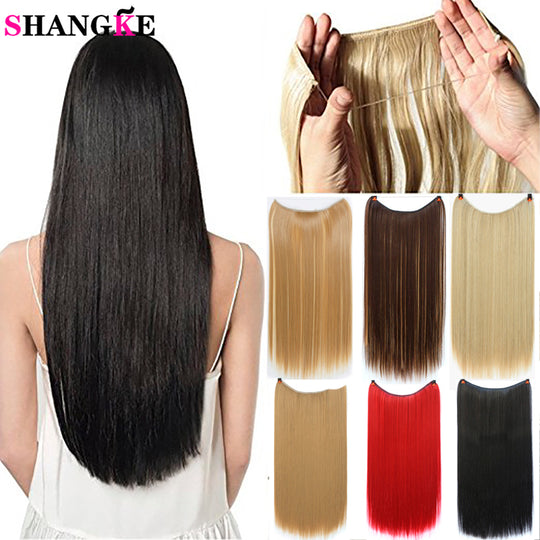 22'' Invisible Wire No Clips in Hair Extensions Secret Fish Line Hairpieces-WeaveKINGDOM.com