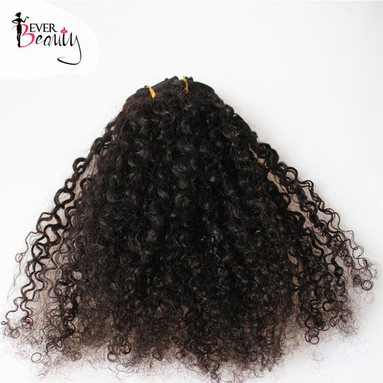 3B 3C Kinky Curly Clip In Human Hair Extensions For Women Mongolian Hair Extensions Clip Ins Natural-WeaveKINGDOM.com