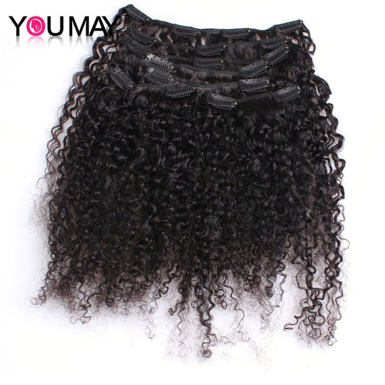 Kinky Curly Clip In Human Hair Extensions 120g/Set 3B 3C Clip Ins Mongolian Virgin Hair You May-WeaveKINGDOM.com