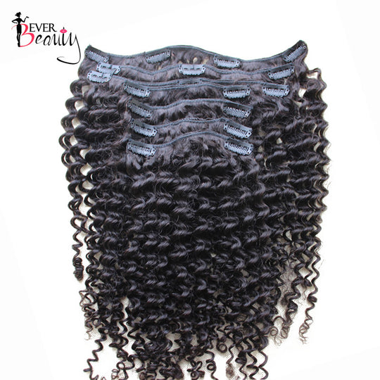 Clip In Human Hair Extensions 7Pcs/120G Brazilian Kinky Curly Remy Hair Full Head Clip In 100% Human-WeaveKINGDOM.com