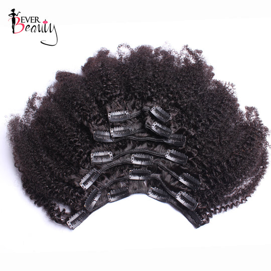 Afro Kinky Curly Clip In Human Hair Extensions For Women Mongolian Hair Extensions Clip Ins-WeaveKINGDOM.com