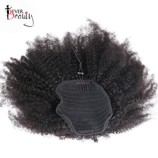 4B 4C Afro Kinky Curly Hair Ponytails Natural Human Hair 100g/Piece Mongolian Human Ponytail-WeaveKINGDOM.com