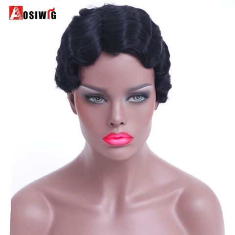 AOSIWIG Short Black Wigs Water Wave Curly Wig Short Wig for Black Women Hair-WeaveKINGDOM.com