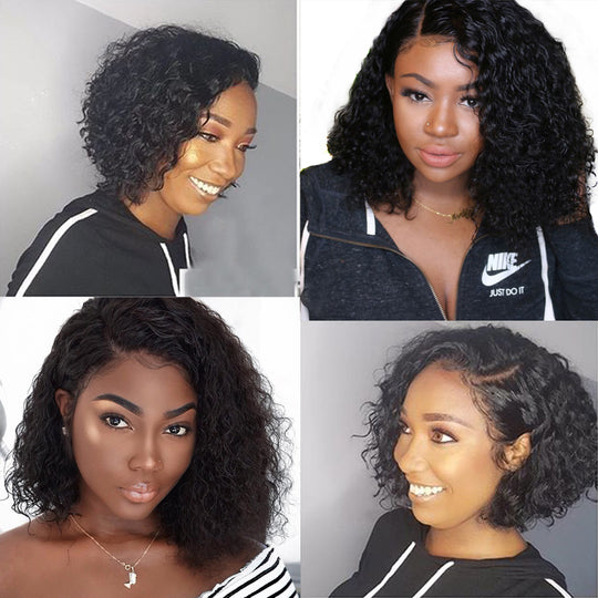 Short Human Hair Wigs For Women Natural Black Wavy Bob Wig 13x4 Glueless Full End Lace Front Wig 130% Brazilian Frontal Wig Remy-WeaveKINGDOM.com