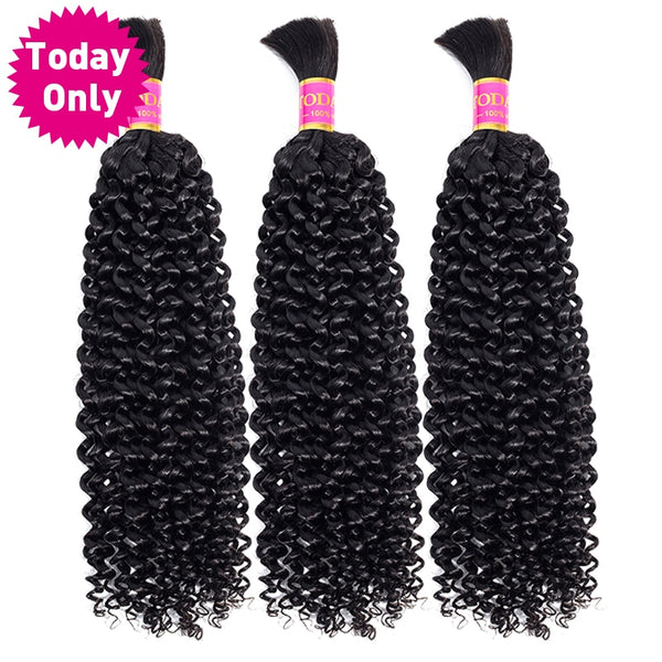 TODAY ONLY Malaysian Curly Hair 3 Bundles Human Braiding Hair Bulk No Weft Kinky Curly Human Hair-WeaveKINGDOM.com