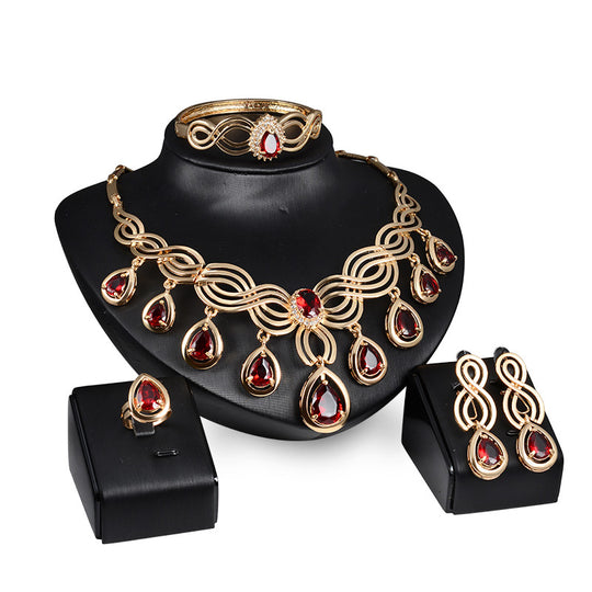 African bridal jewelry KC gold plated red crystal statement necklace and earrings sets Dubai-WeaveKINGDOM.com