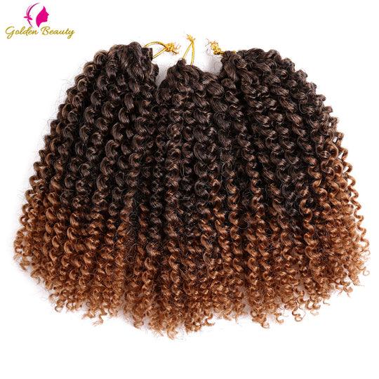 Golden Beauty 8-12inch Kinky Curly Crochet Hair Synthetic Braiding Hair Extensions Marleybob Crochet-WeaveKINGDOM.com