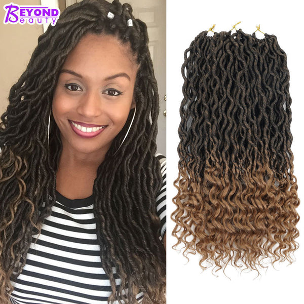 Crochet Goddess Locs Hair Extensions Faux Locs Curly Crochet Braids Ombre Kanekalon Braiding Hair-WeaveKINGDOM.com