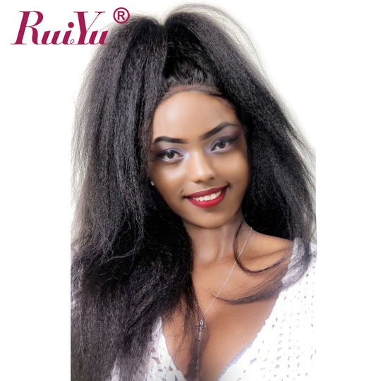 Kinky Straight Lace Front Human Hair Wigs For black Women Brazilian Yaki Glueless-WeaveKINGDOM.com