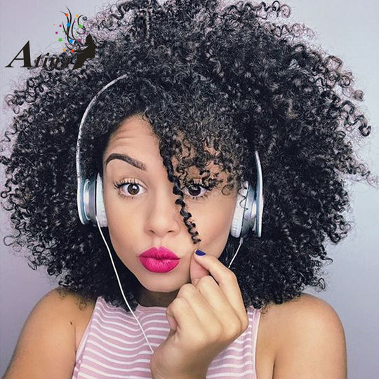 Short Afro Kinky Curly Wig Human Hair Full Lace Brazilian Wig Pre Plucked With Baby Hair Natural-WeaveKINGDOM.com