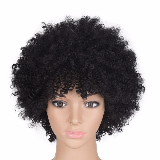 Chorliss Afro Kinky Curly Synthetic Women's Wigs Black Tbrown Dark Bug Short Wig for Black Women-WeaveKINGDOM.com