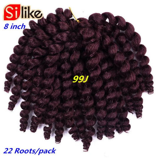 Silike 8inch Ombre Jumpy Wand Curl Crochet Braids 22 Roots Jamaican Bounce Synthetic Crochet Hair Extension for Black Women-WeaveKINGDOM.com