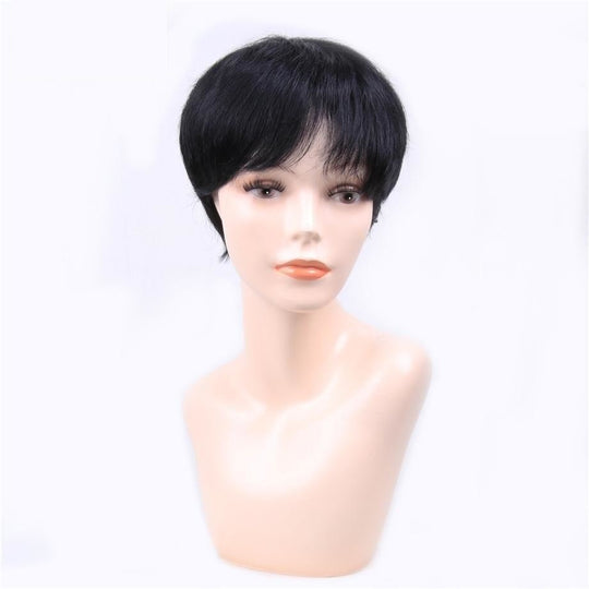 By Hair Brazilian Straight 1b Black Color Short Human Bob Wigs Non-remy One Piece Free Shipping-WeaveKINGDOM.com