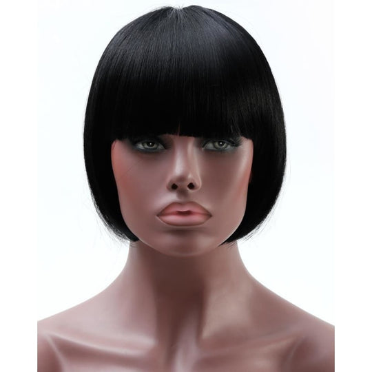 SHANGKE Black Bob Wig For African Americans Women Short Synthetic Wigs For Black Women Natural-WeaveKINGDOM.com