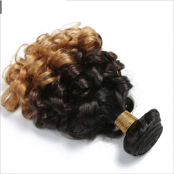 Spark 1B/4/27 3 Tone Ombre Malaysian Bouncy Curly Hair Bundles 12-26 inch 1 Bundle non remy Human-WeaveKINGDOM.com