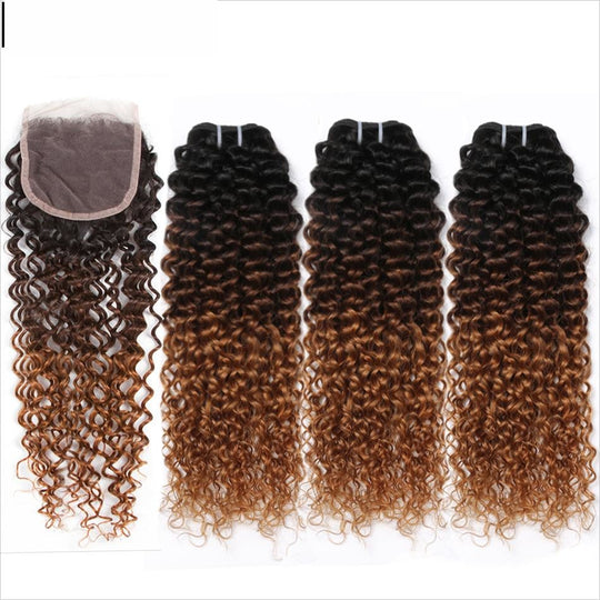 BUY 3 Bundles Get 1 Closure FREE Spark Ombre Brazilian Kinky Curly Weave Human Hair Bundles with-WeaveKINGDOM.com