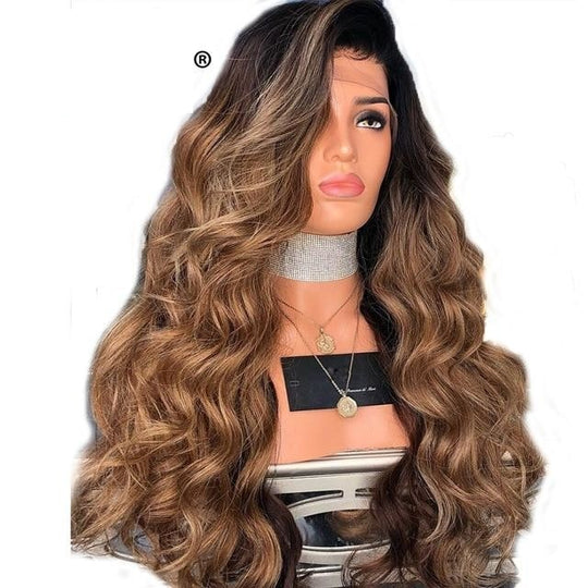 13X6 Pre Plucked Honey Blonde Ombre Lace Front Wig With Baby Hair 250 Density Brazilian Remy Human-WeaveKINGDOM.com
