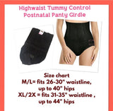 High Waist Tummy Control Postnatal Panty Girdle with Hook - Black