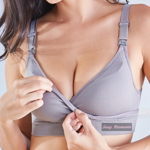 Seamless Crossover Maternity Nursing Bra- Gray