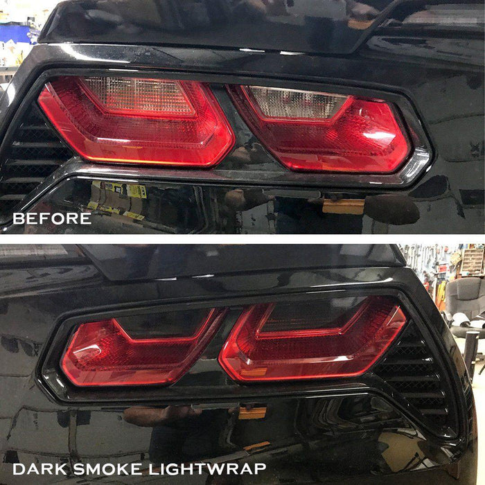 C7 Corvette Tail Light Tint Before and After Dark Smoke