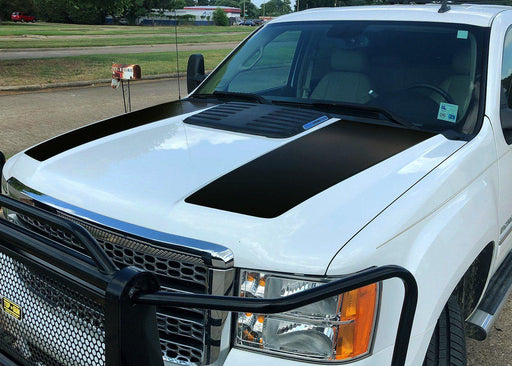 2007-13 GMC Sierra 2500 Denali Hood Bulge Stripes Decal - Solid Color - Luxe Auto Concepts