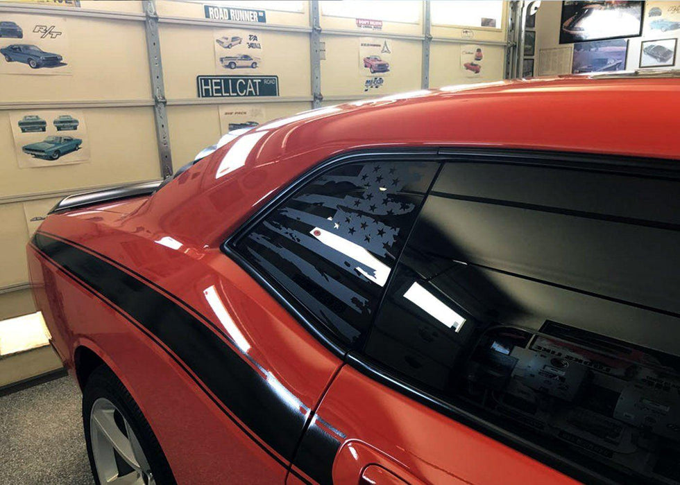2008+ Challenger Rear Side Window Flag Decal - Luxe Auto Concepts