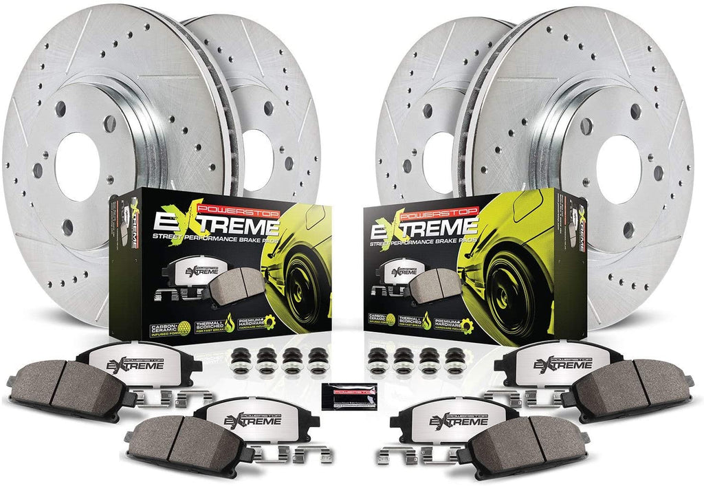 Challenger / Charger Power Stop Z26 Street Warrior Brake Rotor and Pad Kit; Front and Rear (2008-2020)