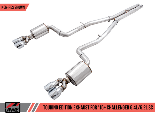 AWE Touring Edition Exhaust for 15+ Challenger 6.4 / 6.2 SC - Non-Resonated - Diamond Black Quad Tips - 3020-43082
