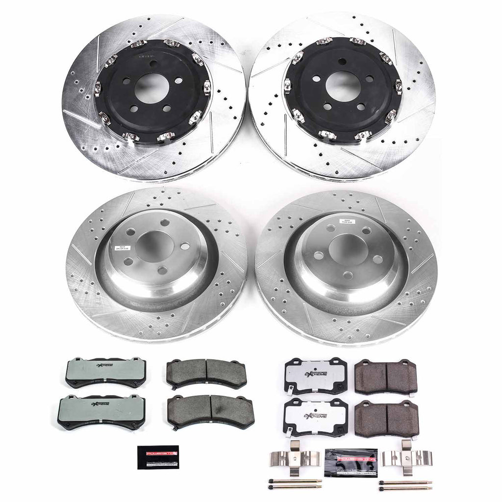 Power Stop Z26 Street Warrior Brake Rotor and Pad Kit; Front and Rear for 2011-2014 Mustang